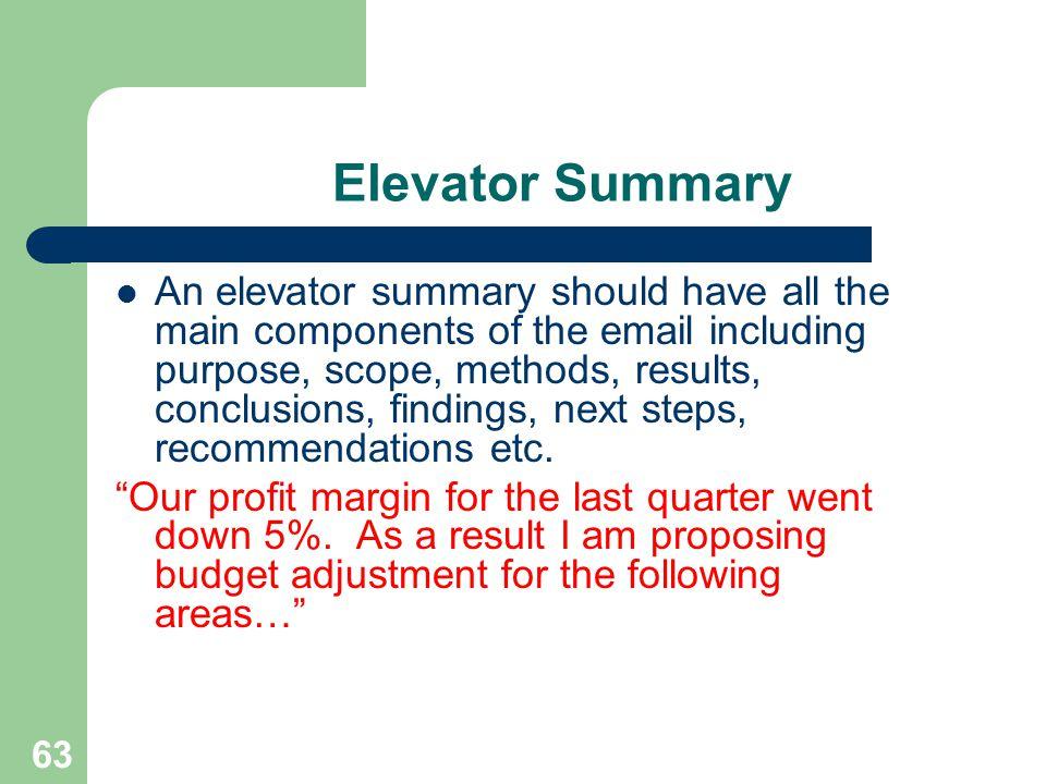 Elevator Summary