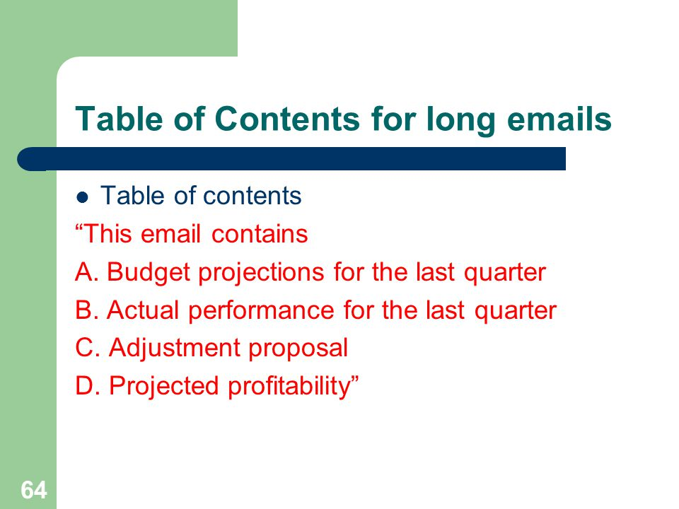Table of Contents for long emails