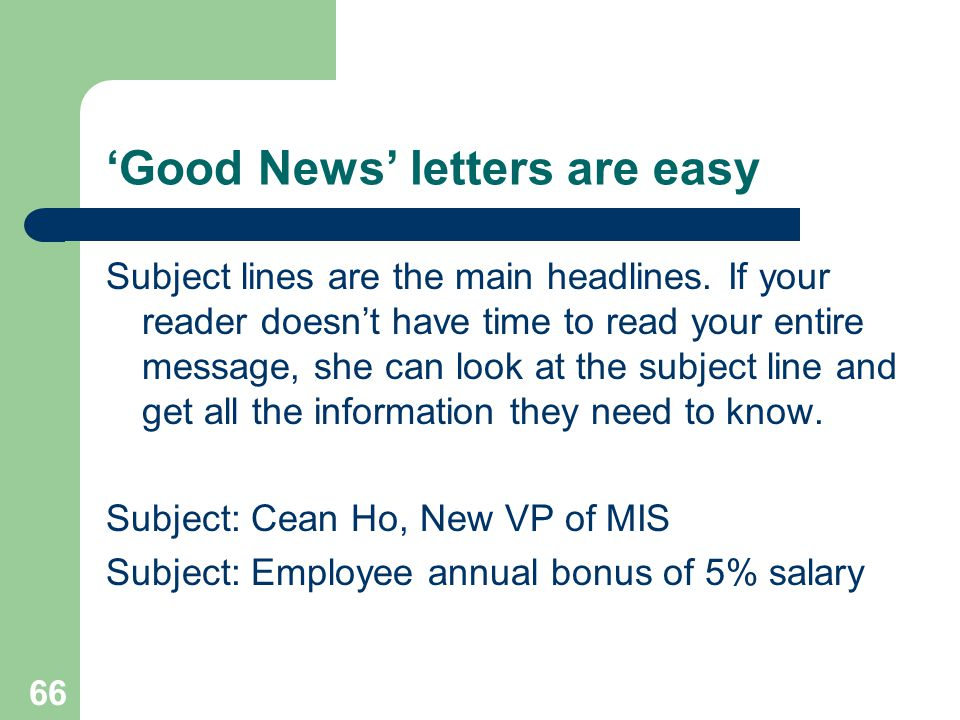 'Good News' letters are easy
