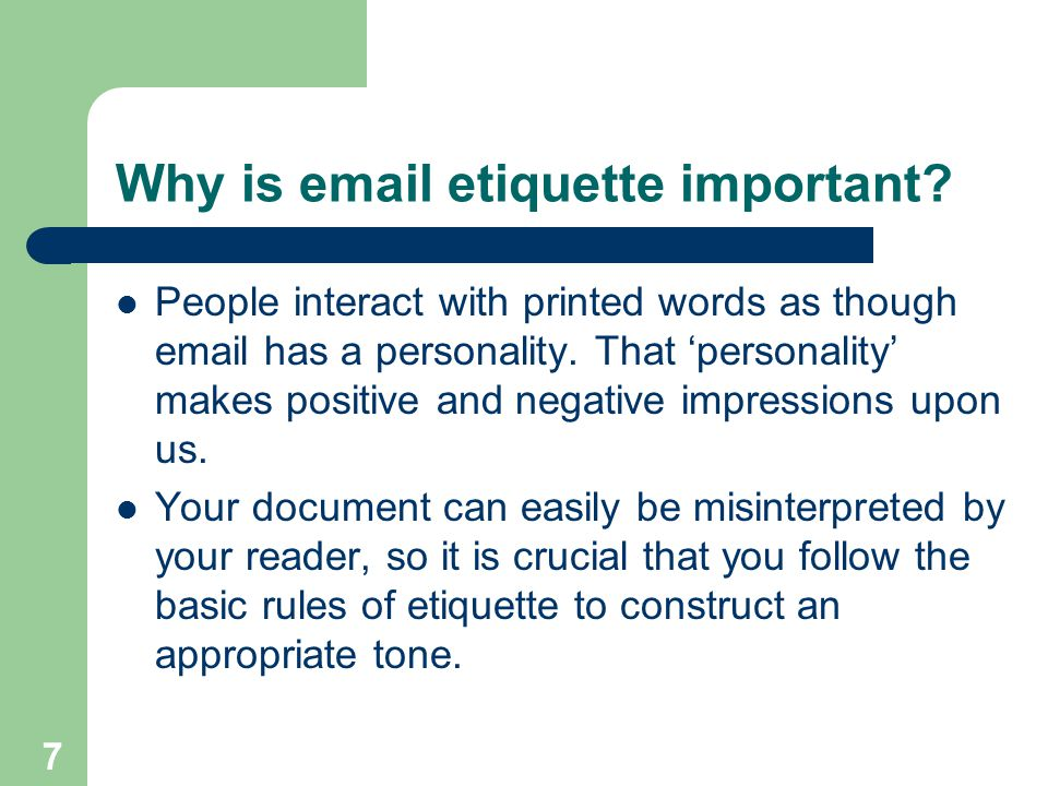 Why is  etiquette important