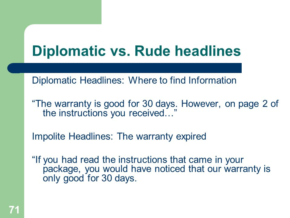 Diplomatic vs. Rude headlines