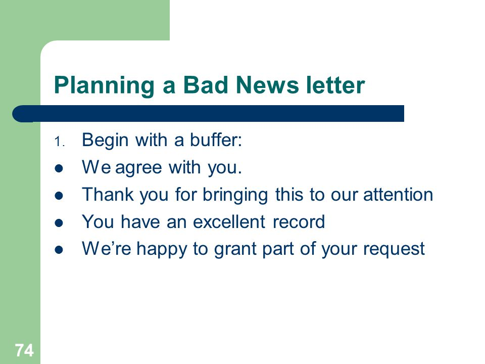 Planning a Bad News letter