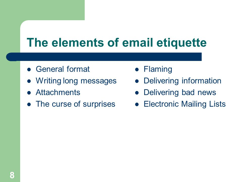 The elements of email etiquette