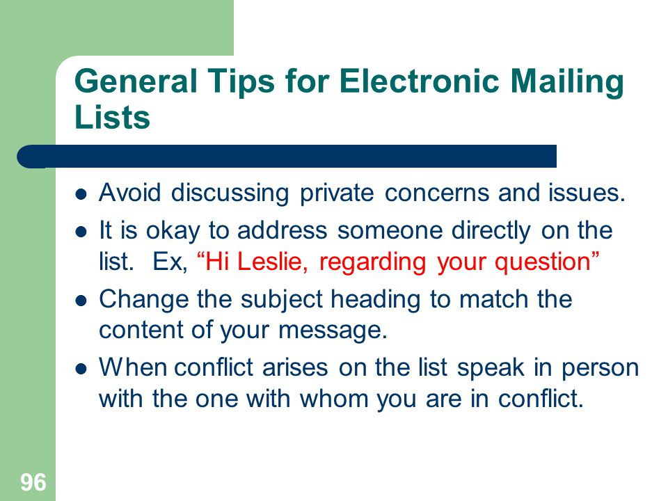 General Tips for Electronic Mailing Lists