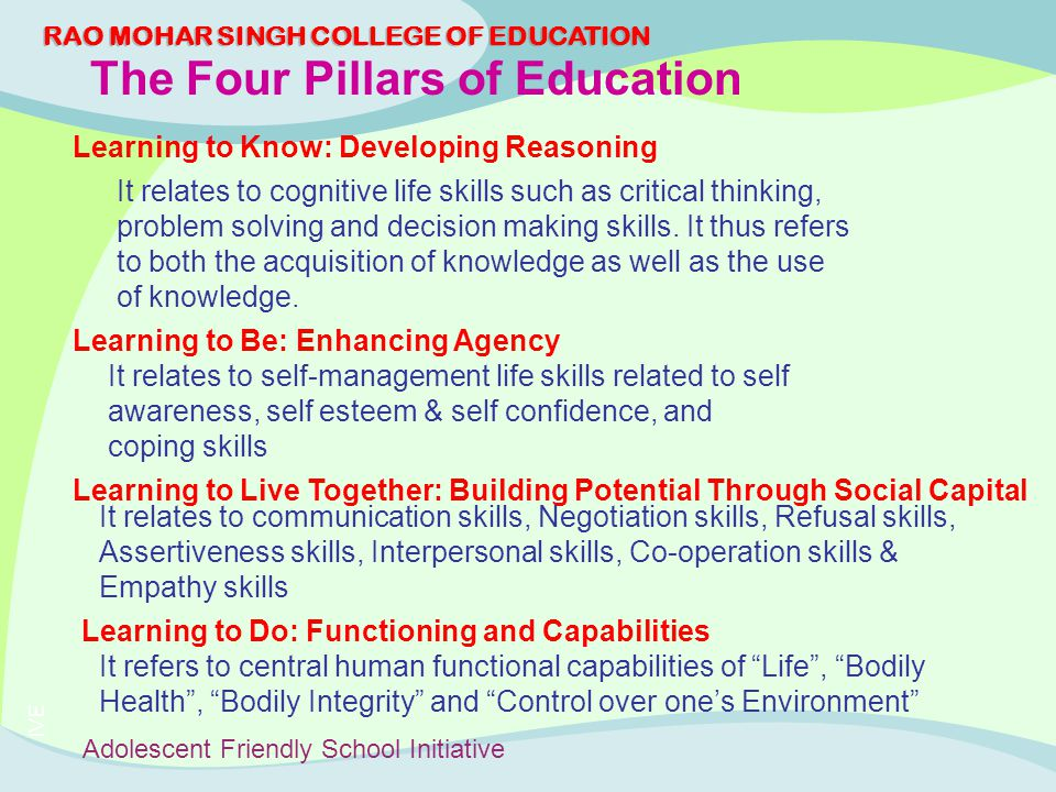 the four pillars of learning essay Essay essay on drago-severson's books drago-severson, e (2004) helping   the fourth pillar, mentoring, engages principals in facilitating learning and.