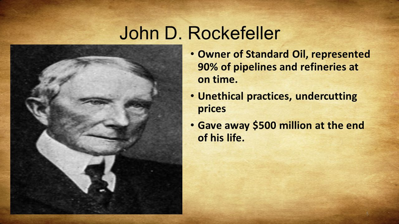 station robber barons or captains of industry ppt  5 john d rockefeller