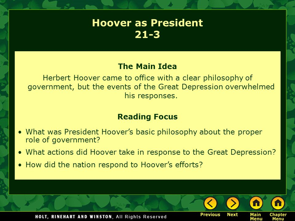 Hoover as President 21-3 The Main Idea