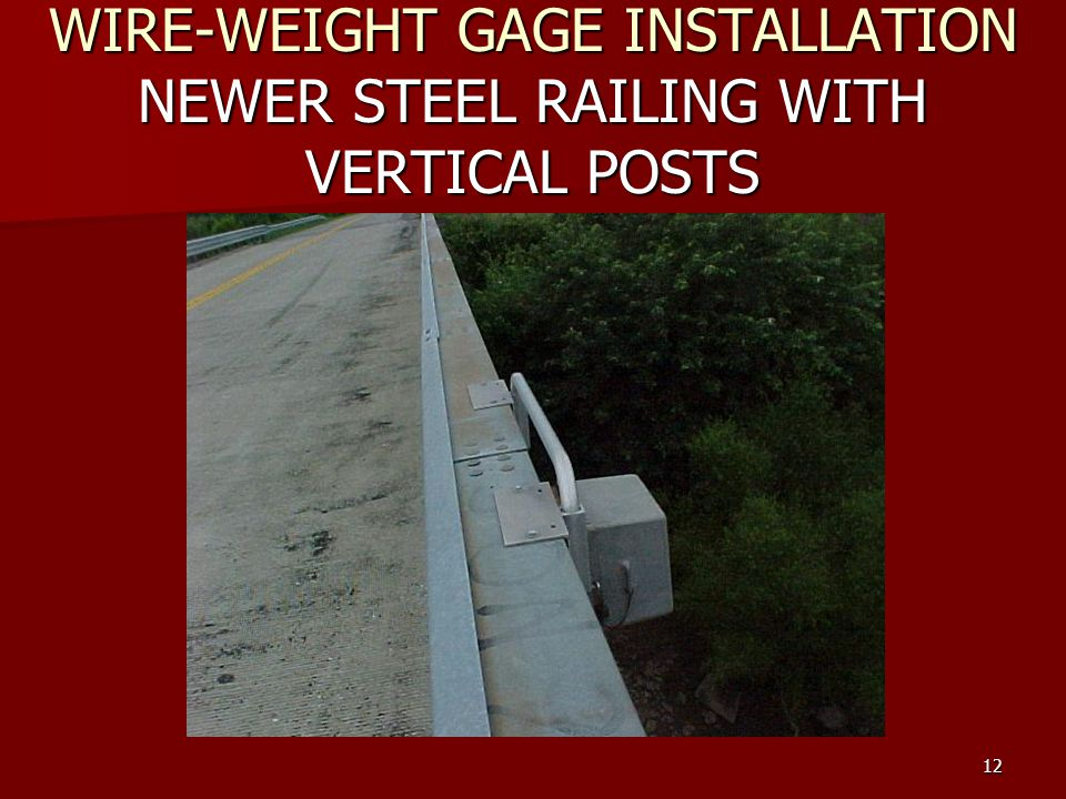 Hydrologic fieldwork manual stage gage installation and 12 wire weight gage installation newer steel railing with vertical posts keyboard keysfo Gallery