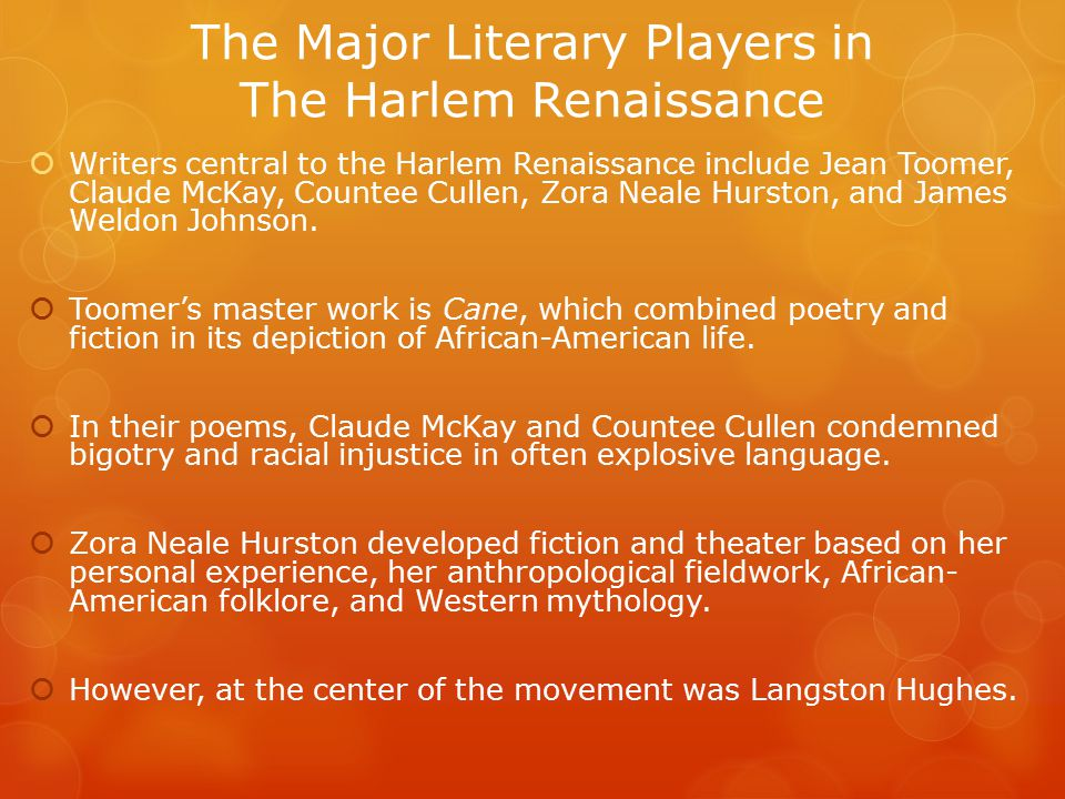 The Major Literary Players in The Harlem Renaissance