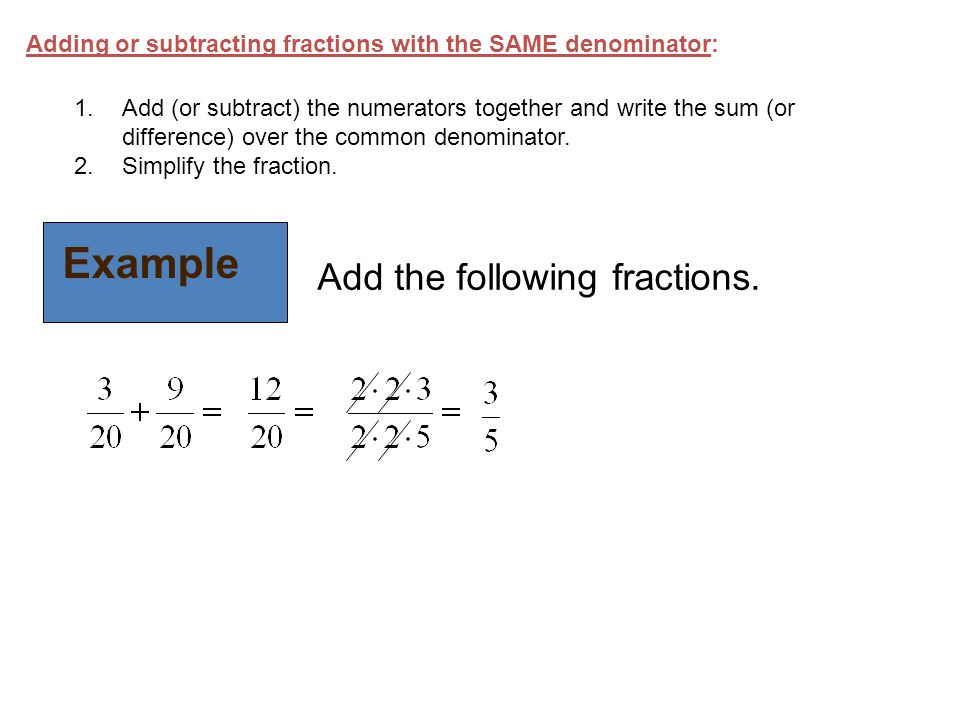 Example Add the following fractions.