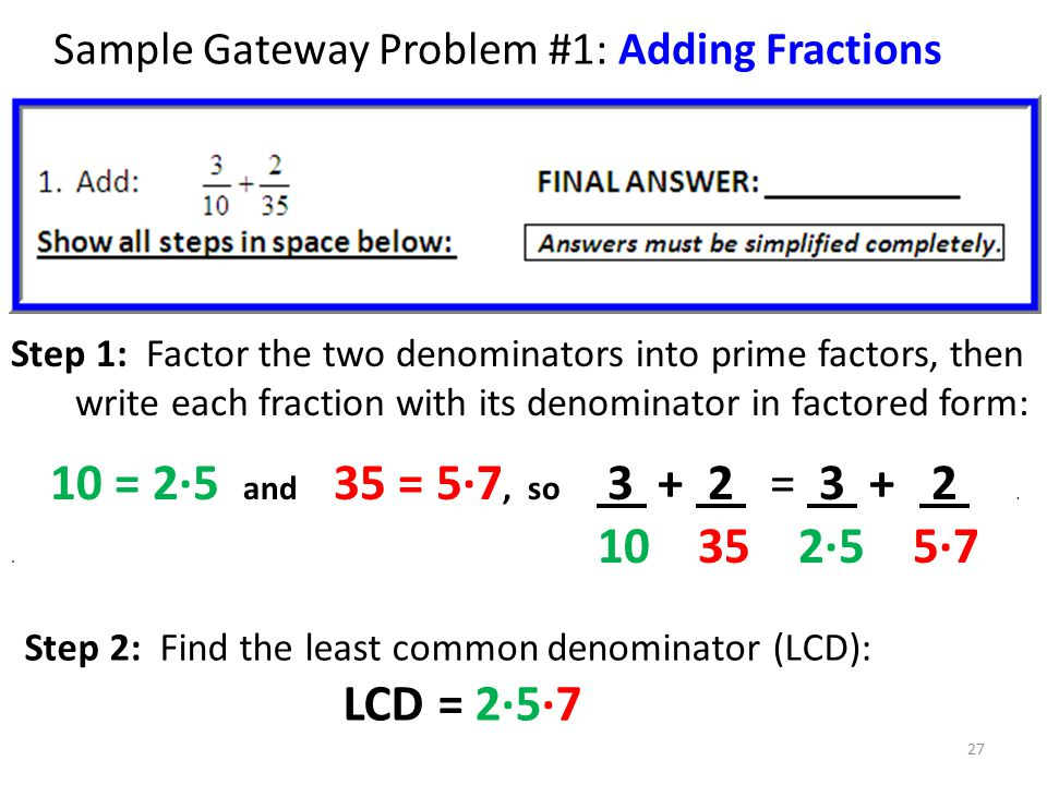 Sample Gateway Problem #1: Adding Fractions
