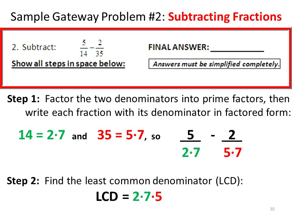 Sample Gateway Problem #2: Subtracting Fractions