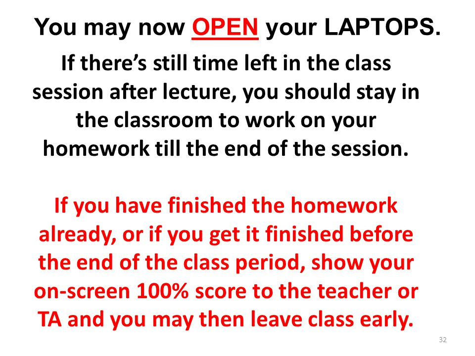 You may now OPEN your LAPTOPS.