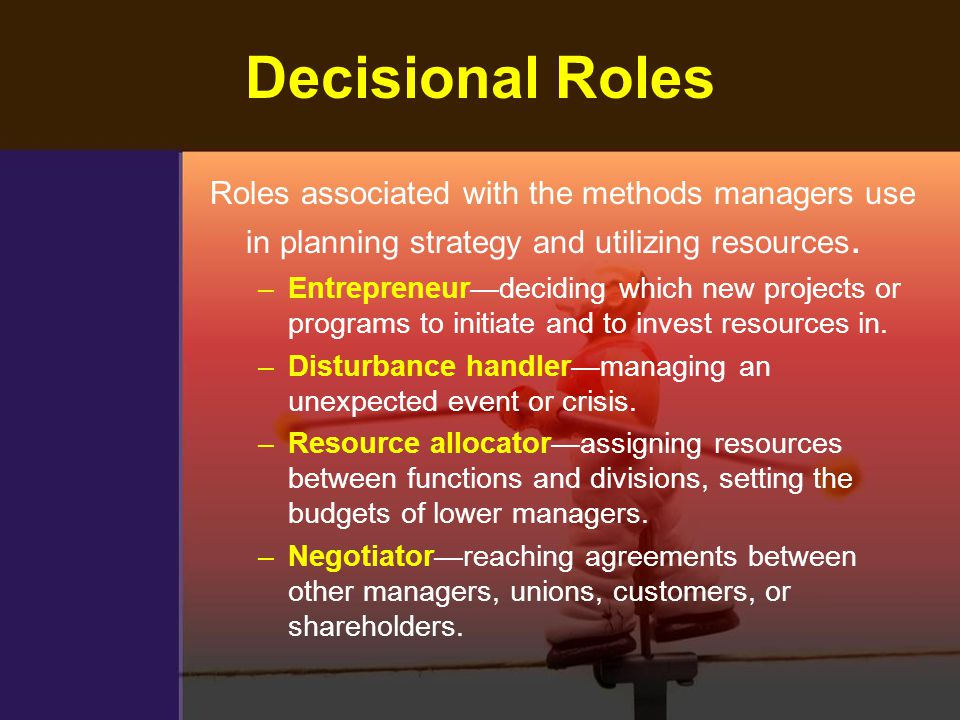 Decisional Roles Roles associated with the methods managers use in planning strategy and utilizing resources.