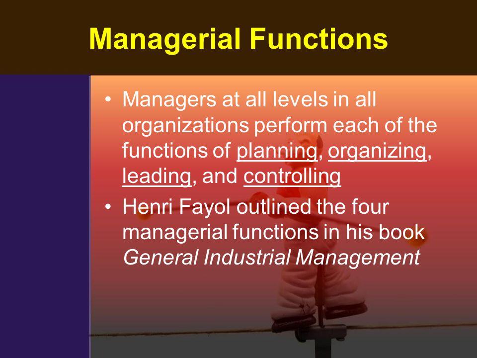 Managerial Functions Managers at all levels in all organizations perform each of the functions of planning, organizing, leading, and controlling.