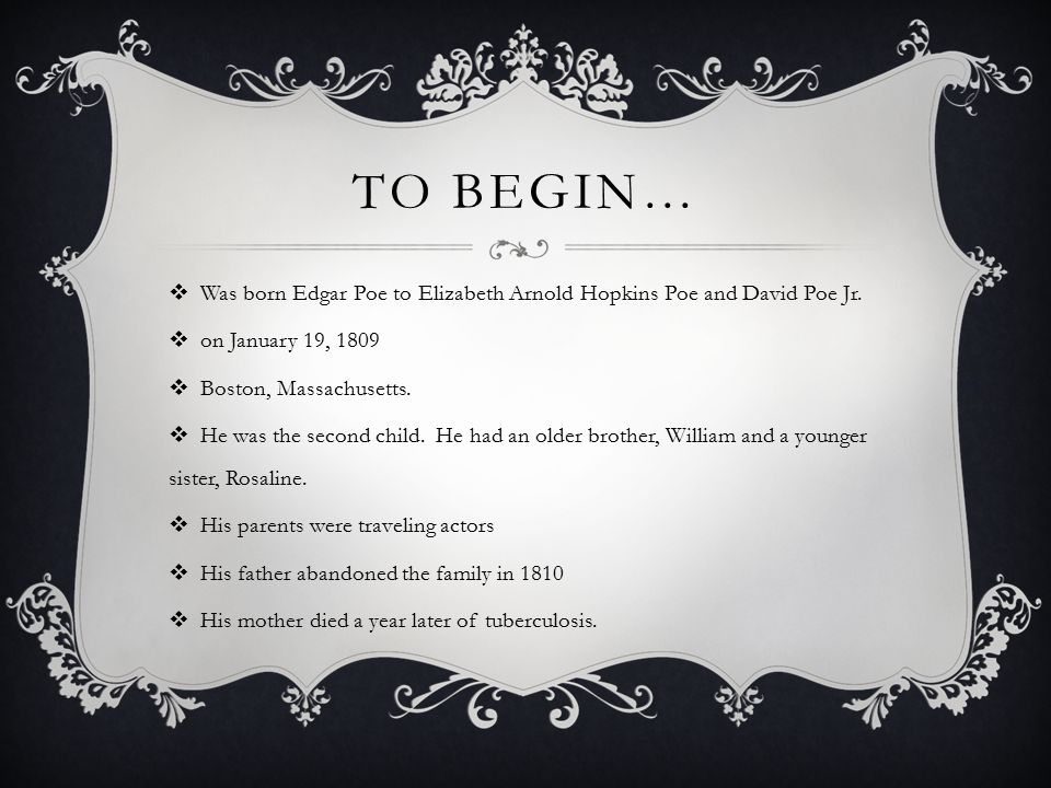 To Begin… Was born Edgar Poe to Elizabeth Arnold Hopkins Poe and David Poe Jr. on January 19,