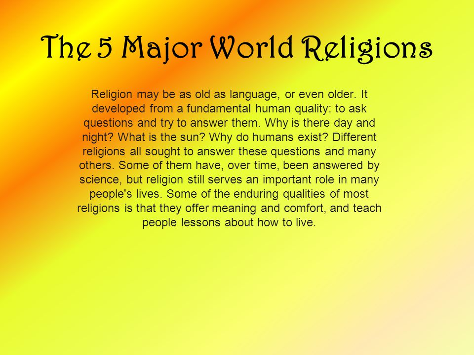 The Major World Religions Ppt Video Online Download - 5 major world religions
