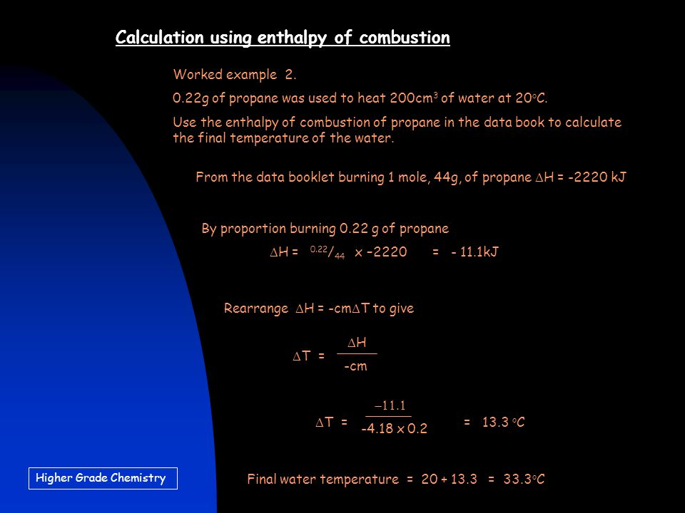 how to calculate enthalpy change of combustion