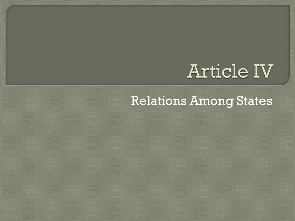 Relations Among States