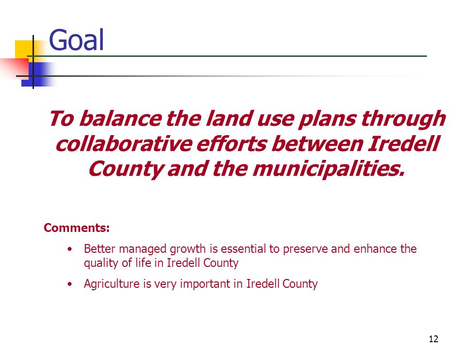 GoalTo balance the land use plans through collaborative efforts between Iredell County and the municipalities.