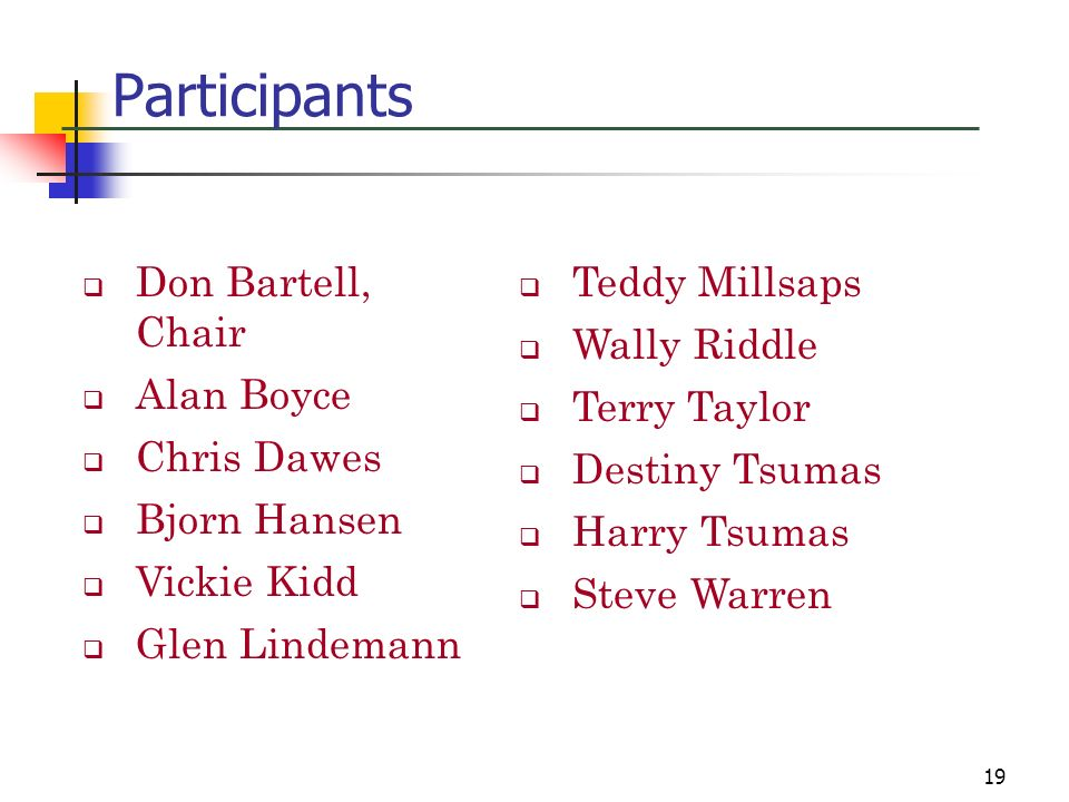 Participants Don Bartell, Chair Alan Boyce Chris Dawes Bjorn Hansen