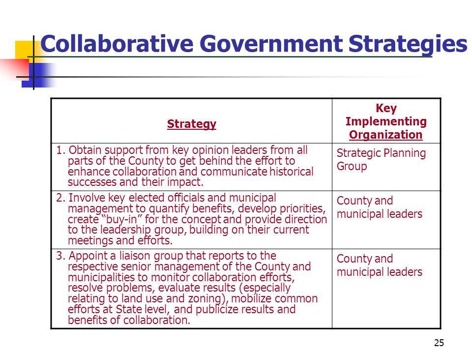 Collaborative Government Strategies