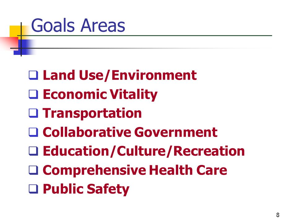 Goals Areas Land Use/Environment Economic Vitality Transportation