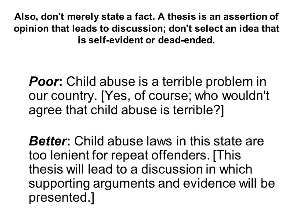 good thesis statement for child abuse essay