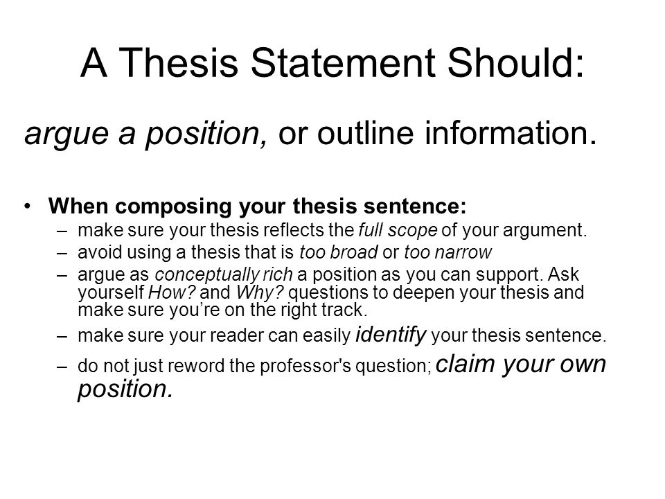 what a thesis question Guidelines for writing a thesis or dissertation, linda childers hon some question you feel the body of knowledge in your field does not answer adequately.