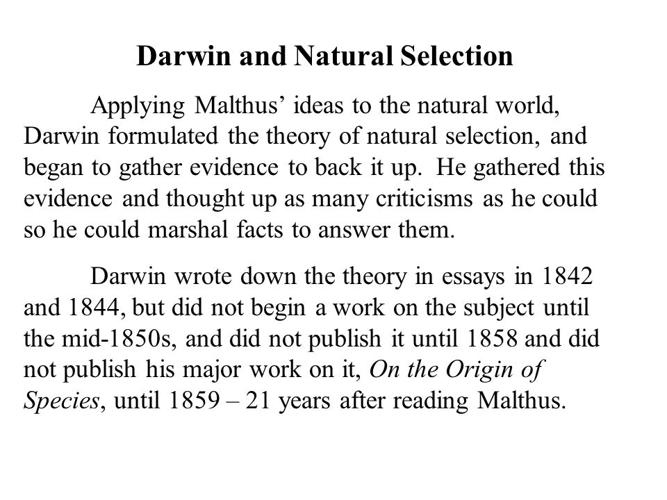 essays darwins theory of natural selection Contributions to the theory of natural selection add this to your mendeley  of  natural selection a series of essays  russel wallace charles darwin's library .