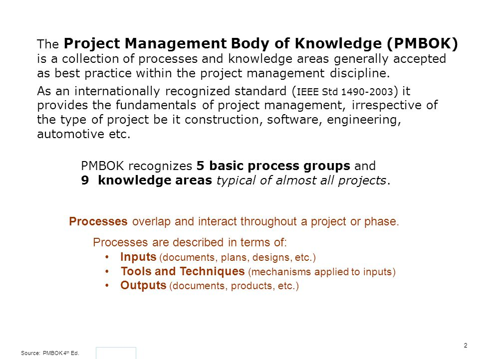 The Project Management Body of Knowledge (PMBOK) is a collection of processes and knowledge areas generally accepted as best practice within the project management discipline.