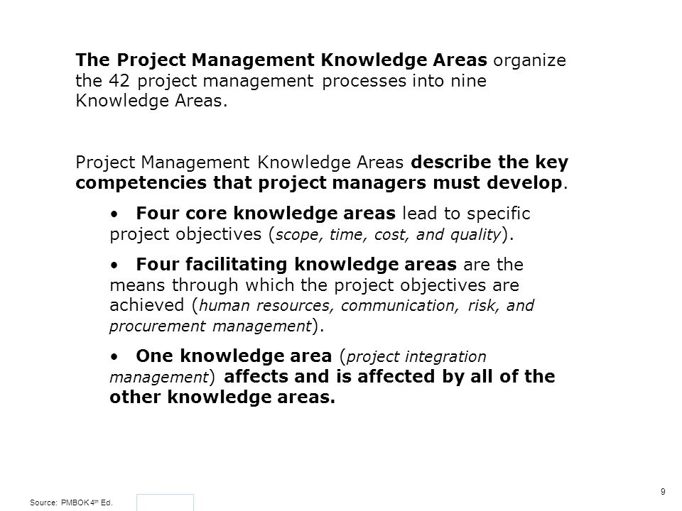 The Project Management Knowledge Areas organize the 42 project management processes into nine Knowledge Areas.