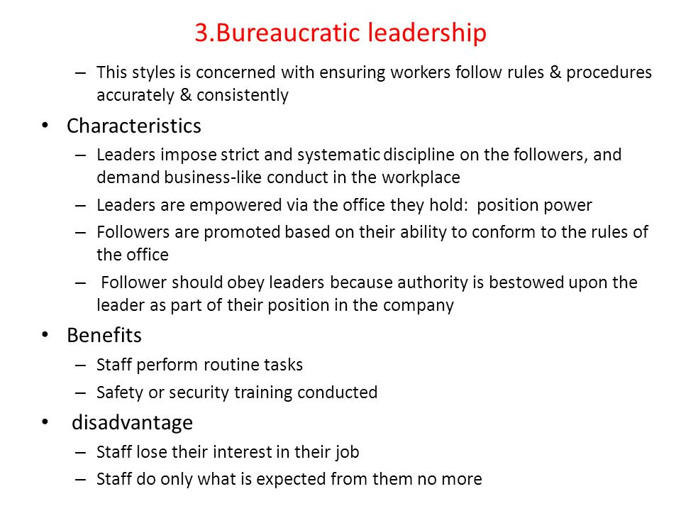 bureaucratic leadership