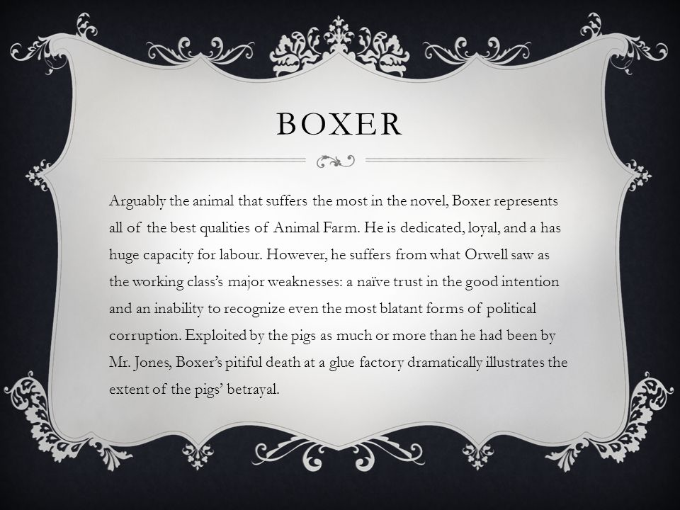 animal farm ppt video online  8 boxer arguably the animal