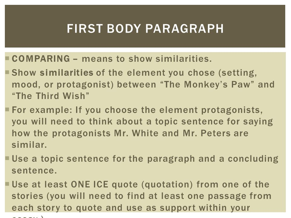 first body paragraph compare contrast essay The first sentence identifies the subject of the  essay body paragraph – example 1  guide to essay paragraph structure 5 .
