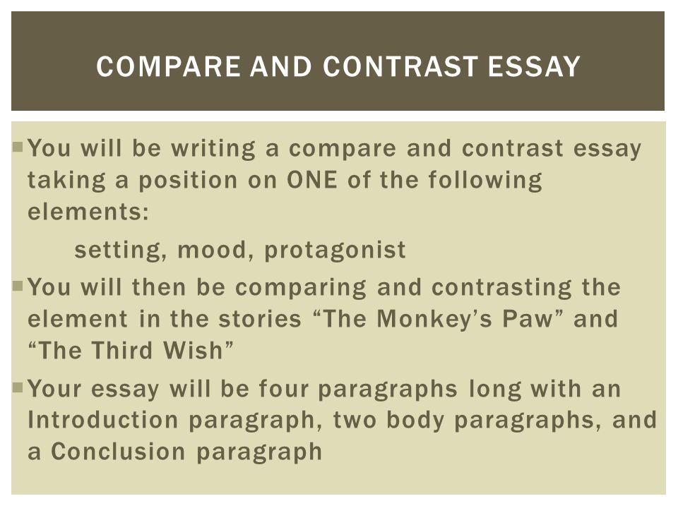 writing essay introduction compare contrast Sometimes you may want to use comparison/contrast techniques in your own pre-writing work to get ideas that you can later use for an argument, even if comparison/contrast isn't an official requirement for the paper you're writing.
