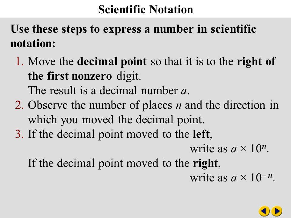Algebra 8-3 Scientific Notation