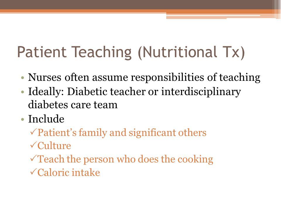 Patient Teaching (Nutritional Tx)