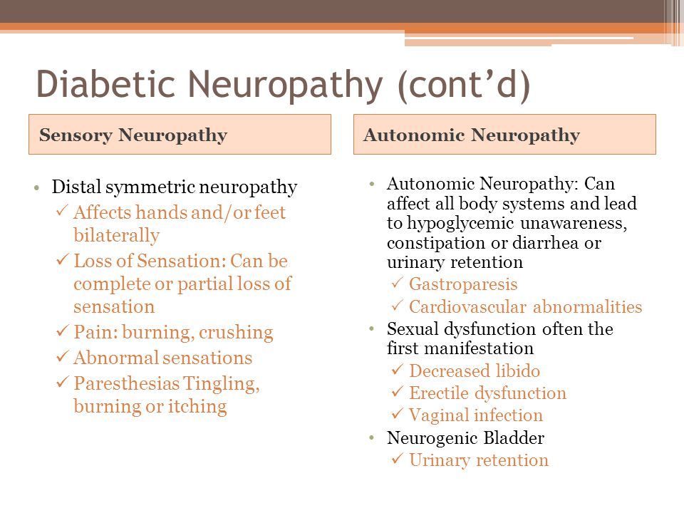 Diabetic Neuropathy (cont'd)