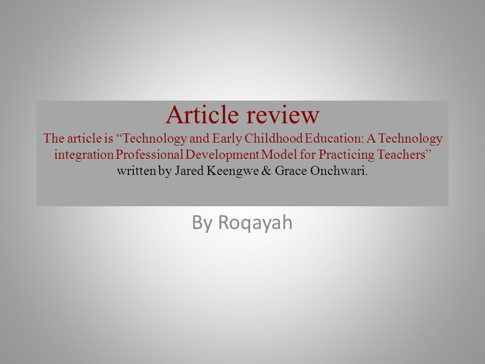 Article review the article is technology and early childhood 1 article review the article is technology and early childhood education publicscrutiny Images