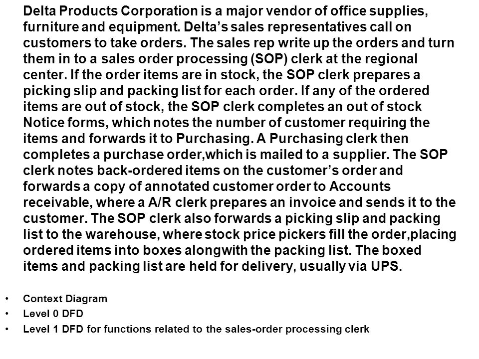 Level 1 DFD for functions related to the sales-order processing clerk