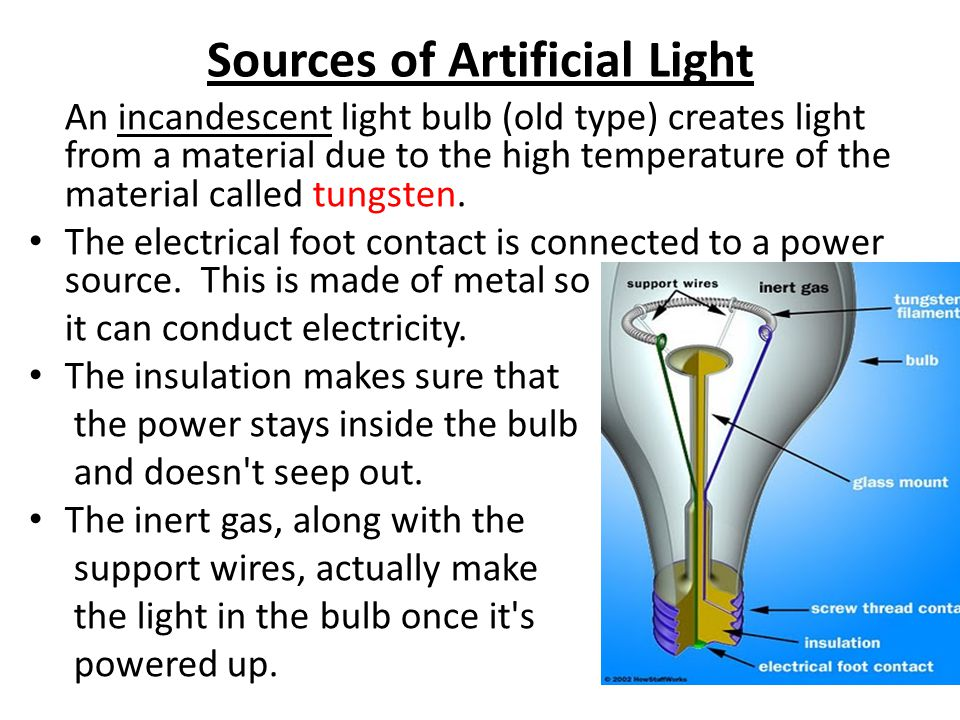 Sources of Artificial Light - ppt video online download