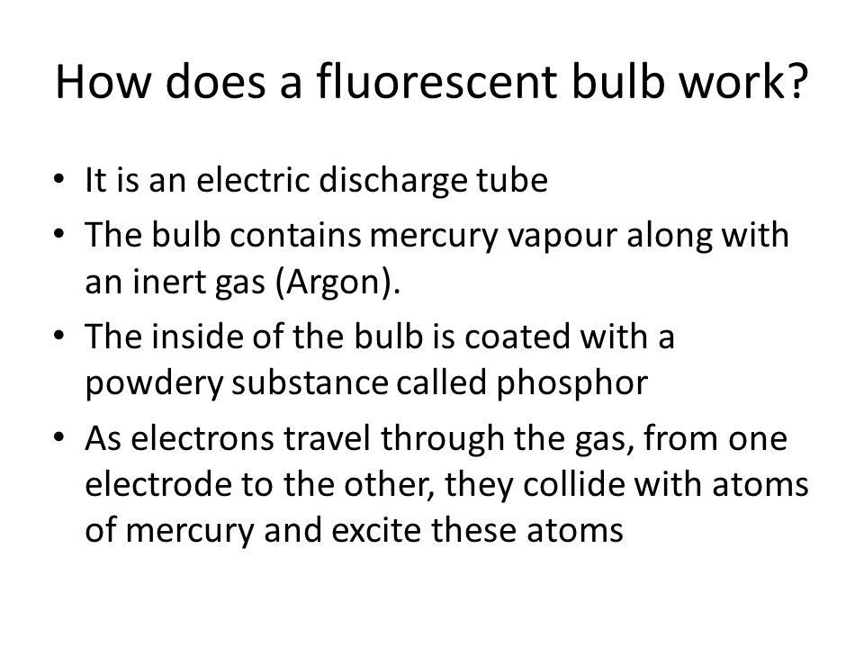 How does a fluorescent bulb work