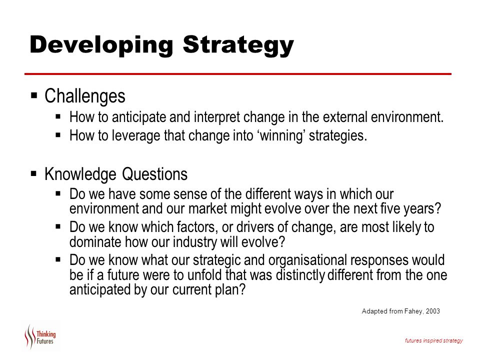 Developing Strategy Challenges Knowledge Questions