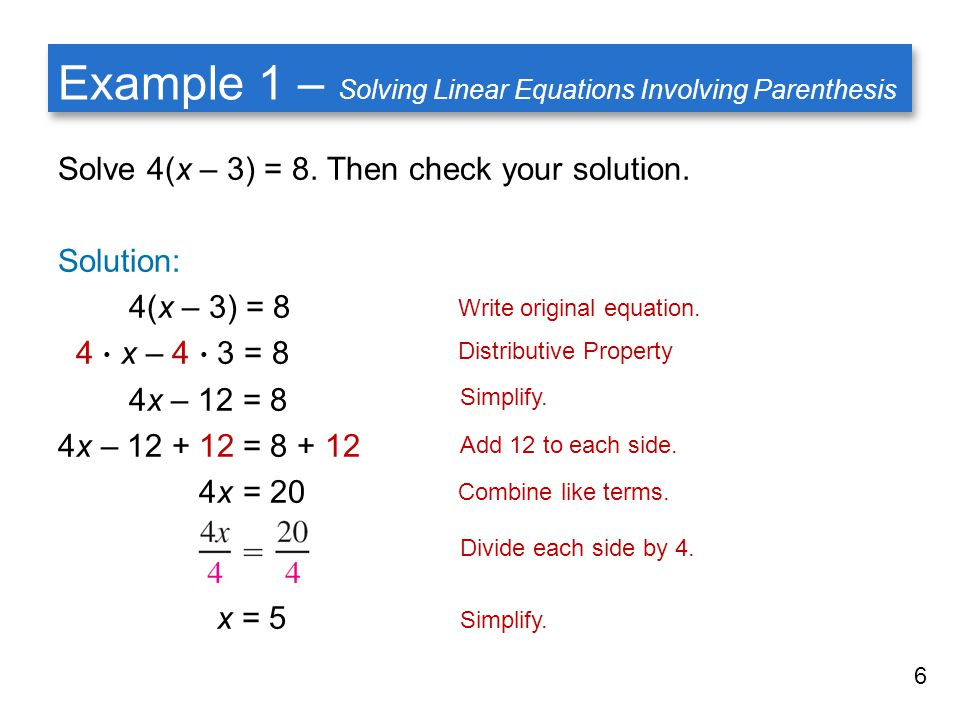 how to solve and check equations