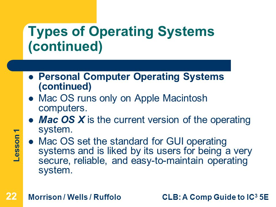 five types of it operations systems Types of operating systems which would be linked to a user's program to assist in operations such as input and output and generating computer code from.