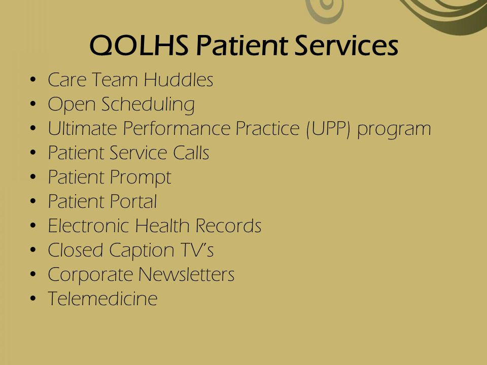 QOLHS Patient Services