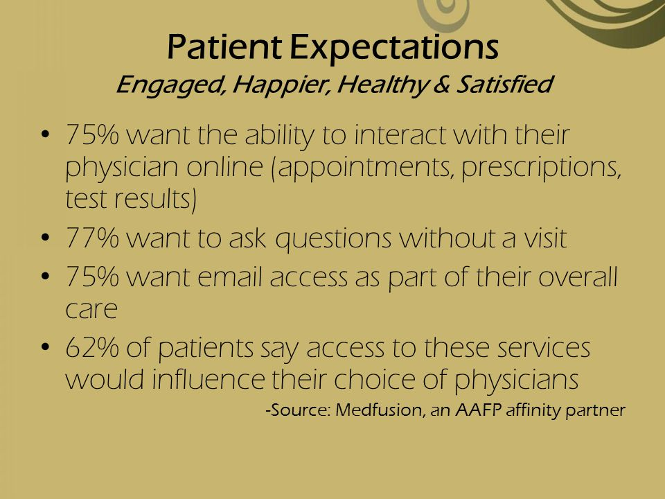 Patient Expectations Engaged, Happier, Healthy & Satisfied