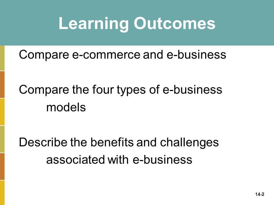 Learning Outcomes Compare e-commerce and e-business