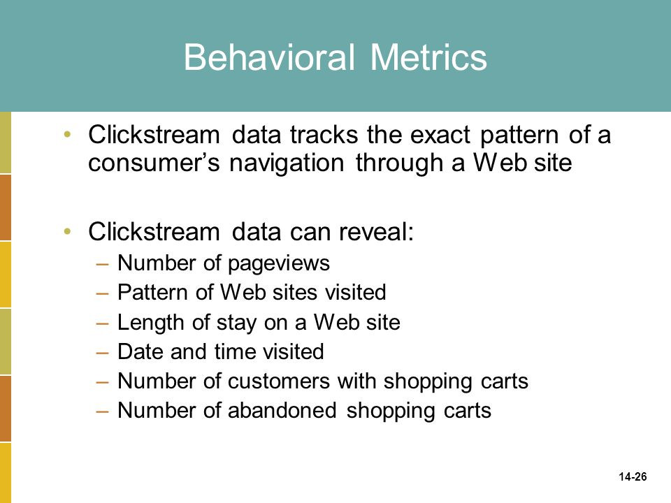 Behavioral Metrics Clickstream data tracks the exact pattern of a consumer's navigation through a Web site.